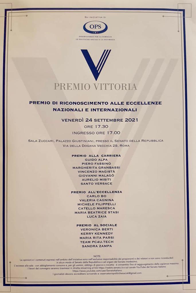 premio vitotria al senato a roma valeria cagnina elenco premiati